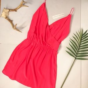 Amanda Uprichard Hot Pink Surplice Wrap Mini Dress